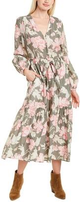 Rebecca Taylor Peonies Silk-Blend Midi Dress