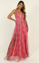 Showpo Sweet Romance Mesh Maxi Dress in pink multi - 8 (S) Wedding