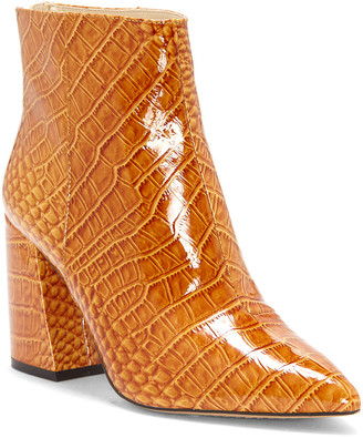 Vince Camuto Women's Casual boots FLEX - Flex Tan Croc-Embossed Benedie Patent Leather Bootie - Women