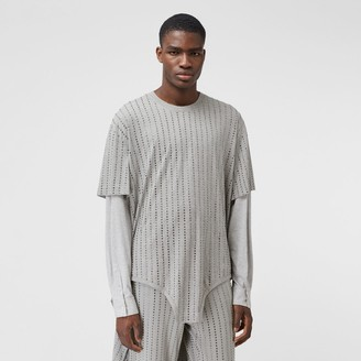 Burberry Cut-out Hem Crystal Pinstriped Cotton Oversized T-shirt