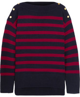 Vanessa Bruno Button-detailed Striped Wool And Cashmere-blend Sweater - Navy