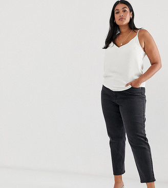 ASOS DESIGN Curve high rise farleigh 'slim' 'slim' mom jeans in washed black