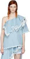 Marques Almeida Blue Denim Cha Cha Diva Single-shoulder Blouse