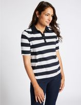 Marks and Spencer Pure Cotton Striped Polo T-Shirt