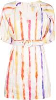 Nicholas brushed striped belted dress