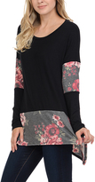 Celeste Black Floral Color Block Tunic - Plus