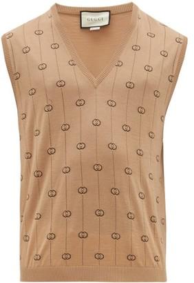 Gucci Gg-intarsia Wool-blend Sleeveless Sweater - Mens - Camel
