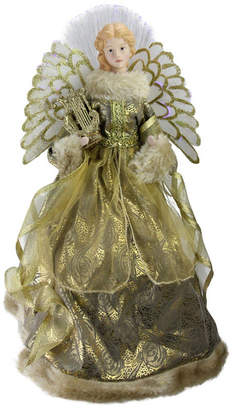 "Northlight 16"" Lighted Fiber Optic Angel in Metallic Gold Gown with Harp Christmas Tree Topper"