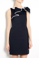 RED Valentino Contrast Trim Bow Neck Cotton Shift Dress