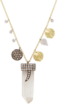 Meira T 14K White Gold, 0.48 Total Ct. Diamond & Topaz Charm Pendant Necklace