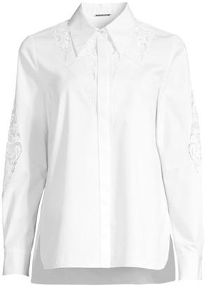 Elie Tahari Hera Cutout Lace Poplin Shirt