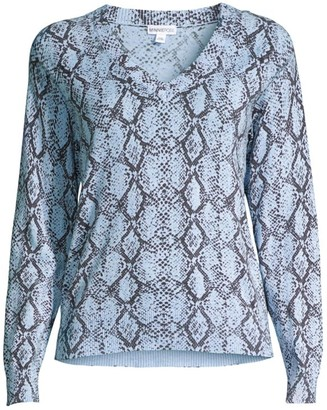 Minnie Rose Python V-Neck Sweater