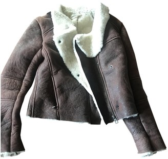 Eleven Paris Brown Leather Leather Jacket for Women