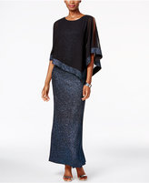 MSK Poncho-Overlay Glitter Gown