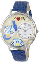 Whimsical Watches Tea Lover Royal Blue Leather and Silvertone Unisex Quartz Watch with White Dial Analogue Display and Multicolour Leather Strap U-0310009