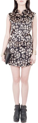 Thakoon Black and Blush Silk Abstract Print Shirt Top Playsuit XS