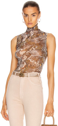 Enza Costa for FWRD Mesh Sleeveless Turtleneck Top in Bronze Gold Boa | FWRD
