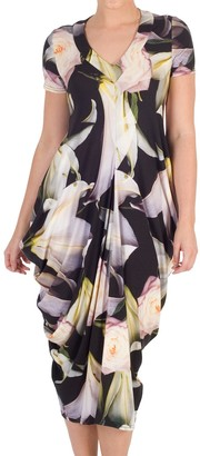 Chesca Lily Rose Print Jersey Dress, Black/Multi
