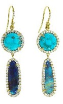 Irene Neuwirth Kingman Turquoise and Boulder Opal Drop Earrings - Yellow Gold