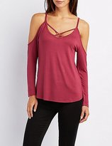 Charlotte Russe Strappy Cold Shoulder Tunic Top