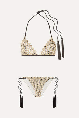 Missoni Mare Tasseled Metallic Crochet-knit Triangle Bikini - White