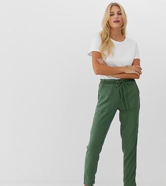 Esprit organic cotton jersey trousers in khaki-Green