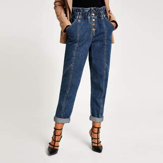 River Island Womens Mid Blue paperbag button front denim jeans