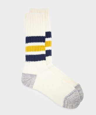 RoToTo Coarse Ribbed Old School Sock in Navy/Yellow