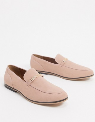 ASOS DESIGN loafers in pink faux suede with snaffle detail