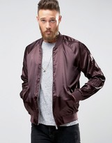 Asos Souvenir Bomber Jacket in Burgundy