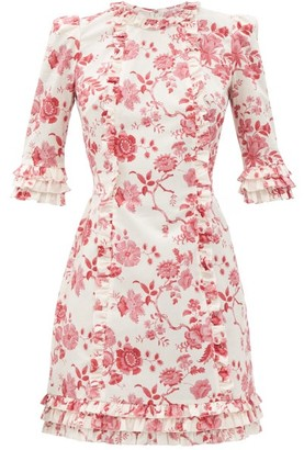 The Vampire's Wife The Cate Floral-print Ruffled Cotton Mini Dress - Red White