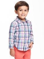 Old Navy Plaid Poplin Dress Shirt for Toddler