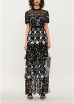 Self-Portrait Self Portrait Tiered sequin-embellished tulle midi dress