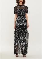 Self-Portrait Tiered sequin-embellished tulle midi dress