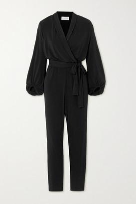 By Malene Birger Editha Draped Wrap-effect Stretch-jersey Jumpsuit - Black