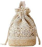 Sulida Women's Sweet Hook Flower Backpack Drawstring Straw Knitted Lightweight Shoulder Bag Boho Style