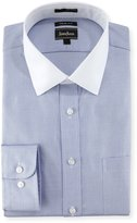 Neiman Marcus Trim Fit Dobby Zigzag Dress Shirt, Blue with White Collar/Cuffs