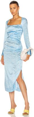 Ganni Silk Stretch Satin Dress in Alaskan Blue | FWRD