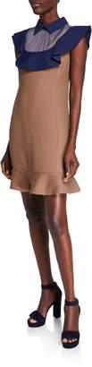 Valentino Colorblock Wool/Silk Ruffle Dress