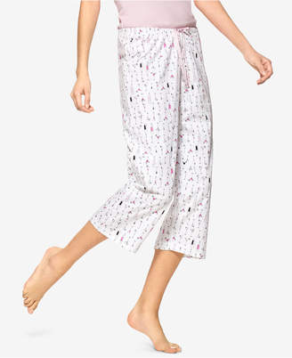 Hue Martini-Print Cotton Capri Pajama Pants