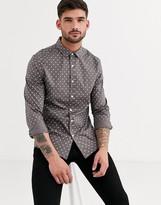 Asos Design ASOS DESIGN slim stretch spot shirt in grey