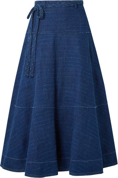 Elizabeth and James Leila Slub Denim Maxi Skirt - Indigo