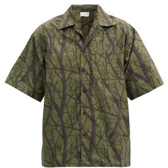 John Elliott Practice Tree-print Cotton-poplin Shirt - Dark Green