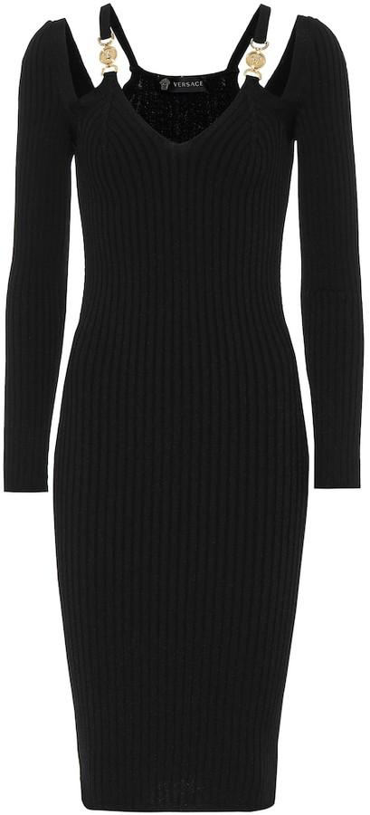 Versace Ribbed-knit bodycon midi dress