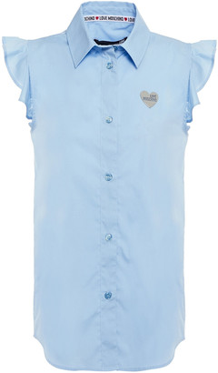 Love Moschino Ruffle-trimmed Appliqued Stretch-cotton Poplin Shirt