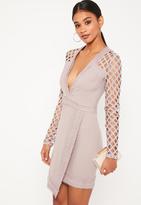 Missguided Purple Lace Plunge Asymmetric Bodycon Dress