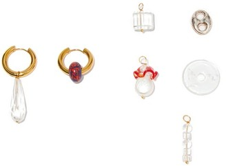 Timeless Pearly Mismatched 24kt Gold-plated Earring & Charm Set - Red Gold