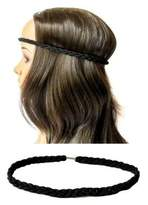 Womens Ladies Black Stretchy Plaited Boho Hippie Browband/Bandeaux/Hairband by Queen of Preen