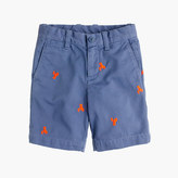 J.Crew Boys' Stanton short in embroidered garment-dyed chino