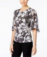 MSK Rhinestone Flutter-Sleeve Evening Blouse
